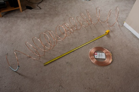 Copper tubing coiled and uncoiled