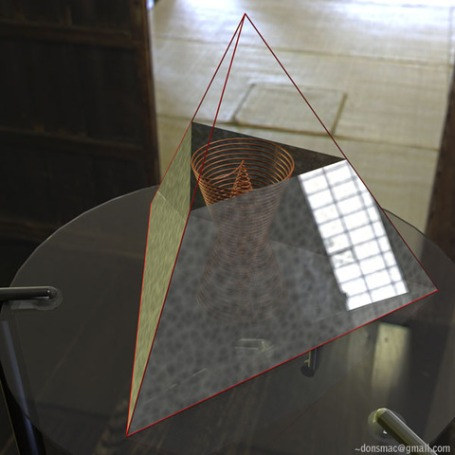 Rendered STA precisely fit inside a 3 foot tall pyramid